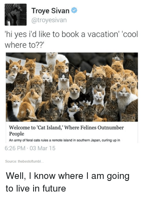 "Books, Cats, and Future: Troye Sivan  atroyesivan  hi yes id like to book a vacation' 'cool  Where to?""  Welcome to ""Cat Island,"" Where Felines Outnumber  People  An army of feral cats rules a remote island in southern Japan, curling up in  6:26 PM 03 Mar 15  Source: thebestoftumbl Well, I know where I am going to live in future"