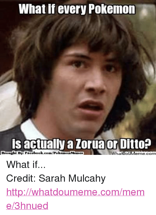 Facebook, Meme, and Memes: What If every Pokemon  is actually a Zorua or Ditto?  Brought By Facebook.com/Pokem  Memes What if... Credit: Sarah Mulcahy http://whatdoumeme.com/meme/3hnued
