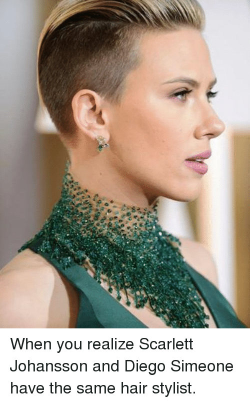 Scarlett Johansson, Soccer, and Hair: When you realize Scarlett Johansson and Diego Simeone have the same hair stylist.