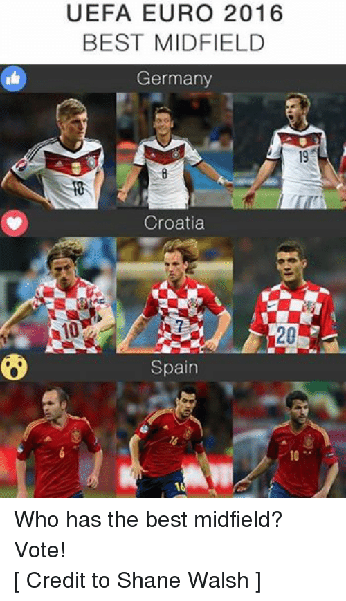 Nas, Soccer, and Euro: UEFA EURO 2016  BEST MIDFIELD  Germany  Nas  Croatia  A10  20  Spain Who has the best midfield? Vote! [ Credit to Shane Walsh ]