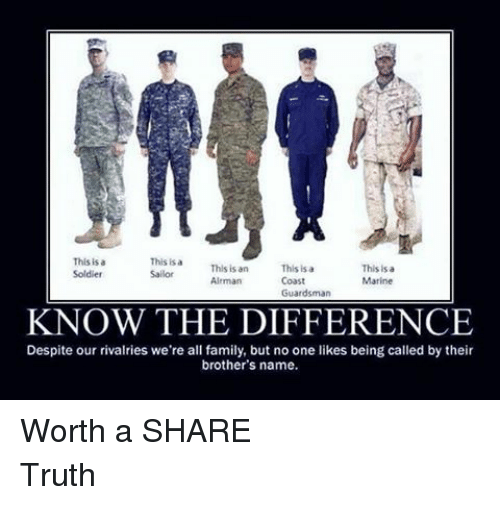 Family, Soldiers, and Marines: This is  This is a  This is an  Sailor  This is a  This is a  Soldier  Coast  Airman  Marine  Guardsman  KNOW THE DIFFERENCE  Despite our rivalries we're all family, but no one likes being called by their  brother's name. Worth a SHARETruth