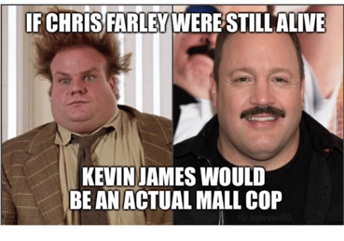 Alive, Kevin James, and Pike County Kentucky: CHRIS FARLEY  WERESTILL ALIVE  KEVIN JAMES WOULD  BE AN ACTUAL MALL COP
