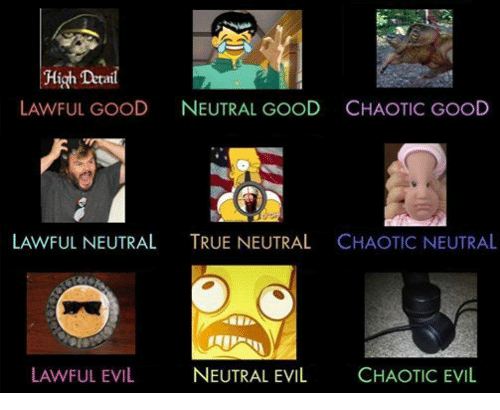 True, Good, and Dank Memes: High Detail  LAWFUL GOOD  NEUTRAL GOOD CHAOTIC GOOD  LAWFUL NEUTRAL  TRUE NEUTRAL  CHAOTIC NEUTRAL  LAWFUL EVIL  NEUTRAL EVIL  CHAOTIC EVIL