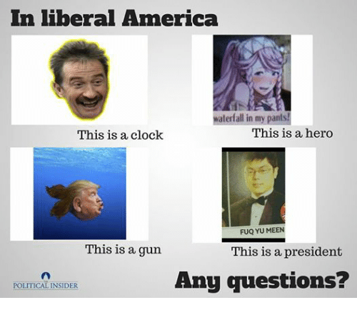 Dank Memes: In liberal America  waterfall in my pants!  This is a hero  This is a clock  FUQ YU MEEN  This is a gun  This is a president  Any questions?  POLITICAL INSIDER