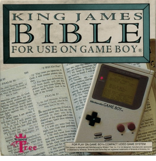 "wrest: KING JAMI E S  BIBLE  FOR USE ON GAME BOY.  ""l Will Not Fear""  0x4 12  12 ""Thy、vows are uponme,0 