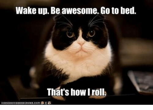 wake up be awesome go to bed that s how iroll ups meme