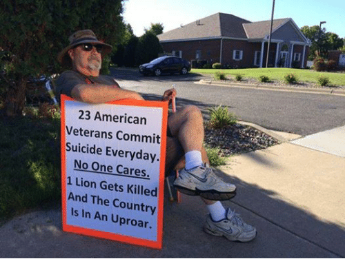Lions: 23 American  Veterans Commit  Suicide Everyday.  No One Cares.  1 Lion Gets Killed  And The Country  Is In An Uproar.