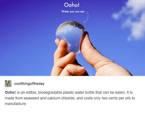 Two Cents: Ooho!  Water you can eat  coolthingoftheday  Ooho! is an edible, biodegradable plastic water bottle that can be eaten. It is  made from seaweed and calcium chloride, and costs only two cents per orb to  manufacture.