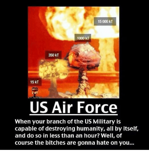 Air Force: 15 000 kT  1000 kT  350 kT  15 KT  US Air Force  When your branch of the US Military is  capable of destroying humanity, all by itself,  and do so in less than an hour? Well, of  course the bitches are gonna hate on you...