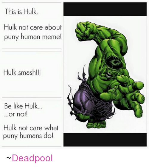 meme: This is Hulk.  Hulk not care about  puny human meme!  Hulk smash!!!  Be like Hulk...  or not!  Hulk not care what  puny humans do! ~Deadpool