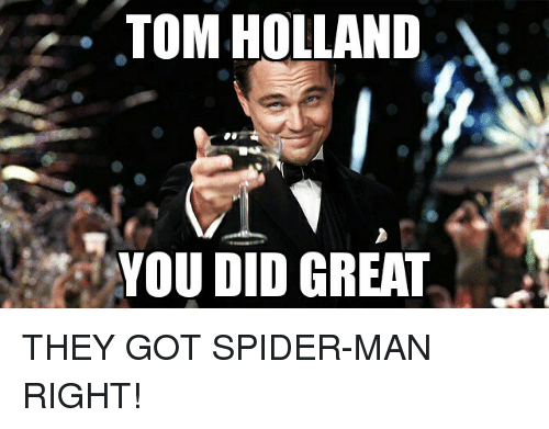 Spider, Spiders, and Toms: TOM HOLLAND  YOU DID GREAT THEY GOT SPIDER-MAN RIGHT!