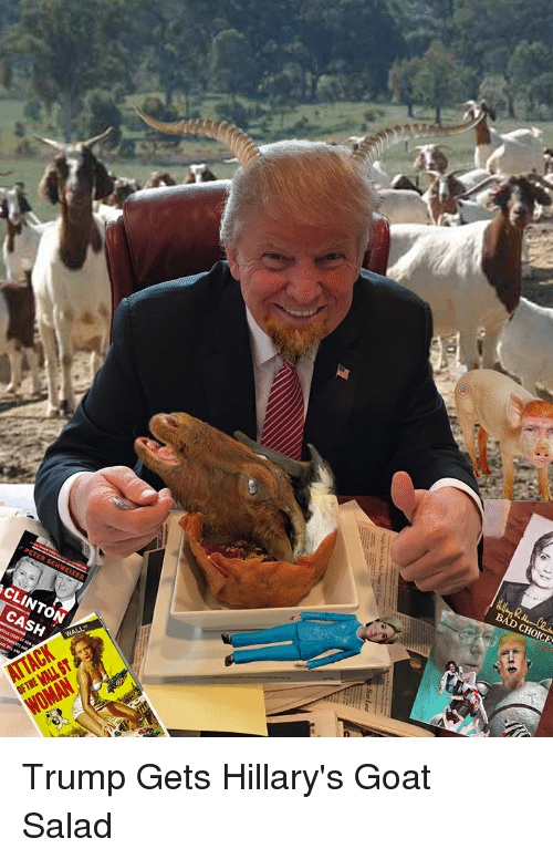 Bad, Goat, and Trump: BAD CHOICE  CLINTON  CASH  ACK  OFTHE MALL ST  Bios Lae Trump Gets Hillary's Goat Salad