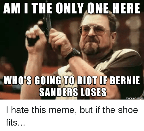 Bernie Sanders, Meme, and Memes: AM I THE ONLY ONE HERE  WHOS GOING TO RIOT IF BERNIE  SANDERS LOSES  made on I hate this meme, but if the shoe fits...