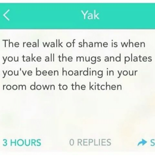 Girl Memes: Yak  The real walk of shame is when  you take all the mugs and plates  you've been hoarding in your  room down to the kitchen  3 HOURS  0 REPLIES