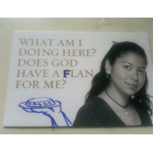 Does God Have A Flan For Me: W HAT AM I  DOING HERE?  DOES GOD  HAVE A FLAN  FOR ME?