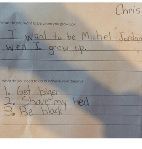 Growing up: Chris  What do you want to be when you grow up?  I want to be Michel Jordan  What do you need to do to achieve your dreams?  1. Get biaer  2e e have my hed  ack