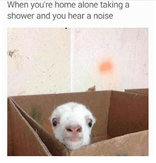 Funny: When you're home alone taking a  shower and you hear a noise