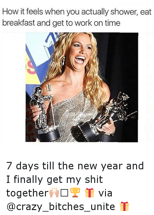 Bitch, Crazy, and Finals: How it feels when you actually shower, eat  breakfast and get to work on time 7 days till the new year and I finally get my shit together🙌🏻🏆-🎁 via @crazy_bitches_unite 🎁