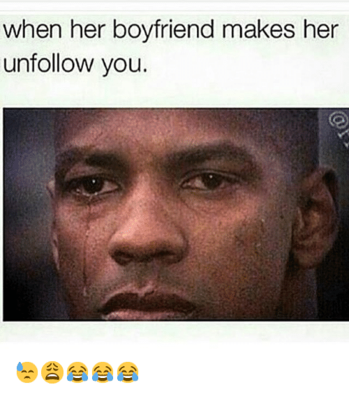 Crush, Crying, and Denzel Washington: when her boyfriend makes her unfollow you. 😓😩😂😂😂