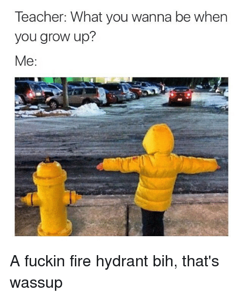 Teacher: Teacher: What you wanna be when  you grow up?  Me A fuckin fire hydrant bih, that's wassup