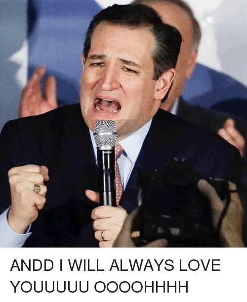 Funny, Love, and Ted Cruz: ANDD I WILL ALWAYS LOVE YOUUUUU OOOOHHHH