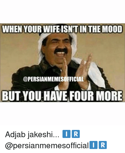 Mood, Persian, and Wife: WHEN YOUR WIFE ISNTIN THE MOOD  @PERSIANMEMESOFFICIAL  BUT YOU HAVE FOUR MORE Adjab jakeshi... 🇮🇷@persianmemesofficial🇮🇷