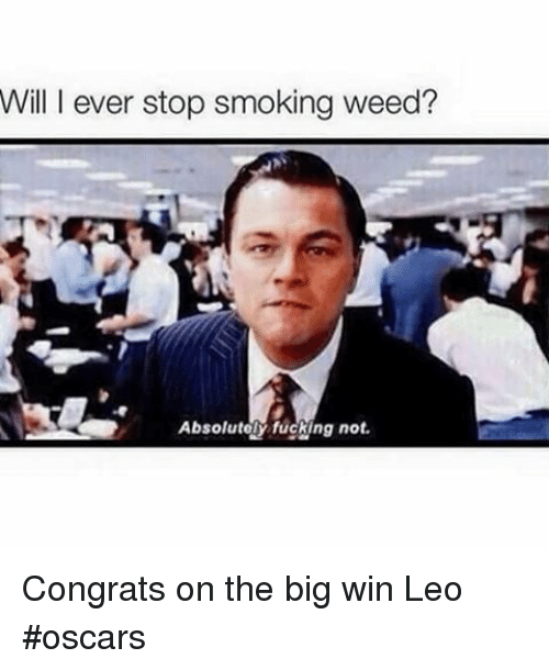 leo oscar: Will I ever stop smoking weed?  Absolutely fucking not. Congrats on the big win Leo oscars