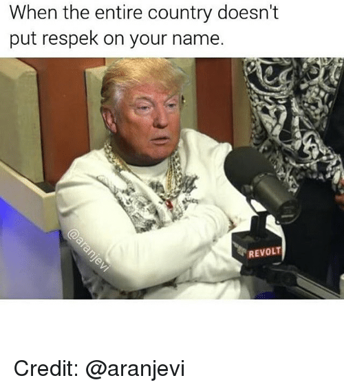 Girl Memes, Credited, and Ons: When the entire country doesn't  put respek on your name.  REVOLT Credit: @aranjevi