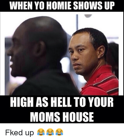 Funny, Homie, and Memes: WHEN YO HOMIE SHOWS UP  HIGH AS HELL TO YOUR  MOMS HOUSE Fked up 😂😂😂