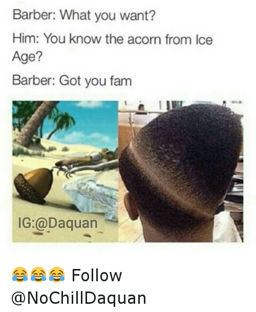Barber, Daquan, and Fam: Barber: What you want?  Him: You know the acorn from Ice  Age?  Barber: Got you fam  IG:@Daquan 😂😂😂 Follow @NoChillDaquan