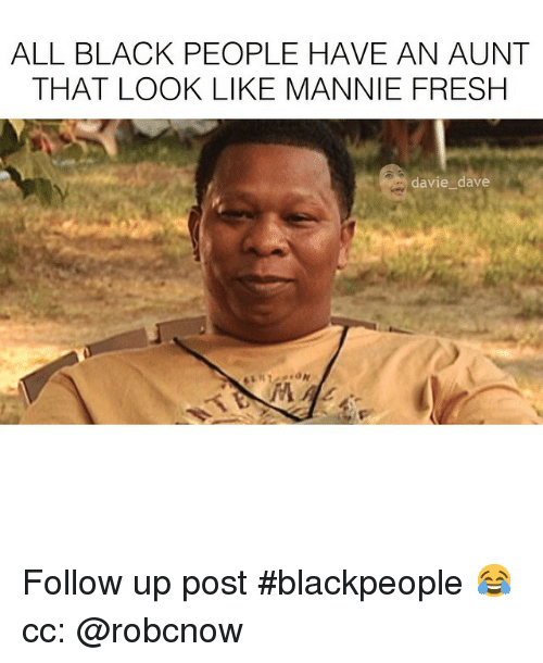 Fresh, Funny, and Mannie Fresh: ALL BLACK PEOPLE HAVE AN AUNT  THAT LOOK LIKE MANNIE FRESH  davie dave Follow up post blackpeople 😂 cc: @robcnow