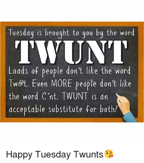 Funny Meme For Tuesday : Tuesday is brought to you by the word twunt lodds of