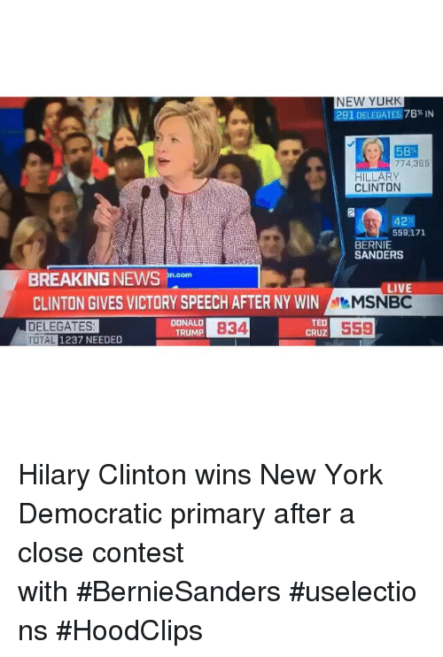 Bernie Sanders, Funny, and Hillary Clinton: NEW YURK  291 DELEGATES 76% IN  58  774,3B5  HILLARY  CLINTON  42  559,171  BERNIE  SANDERS  BREAKING NEWS  Doom  LIV  CLINTON GIVES VICTORY SPEECH AFTER NY WIN  MSNBC  TED  DONALD  DELEGATES  B34  559  CRUZ  TRUMP  TOTAL 1237 NEEDED Hilary Clinton wins New York Democratic primary after a close contest with BernieSanders uselections  HoodClips