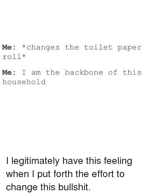 Changing The Toilet Paper Roll: Me: *changes the toilet paper  roll  Me I am the backbone of this  household I legitimately have this feeling when I put forth the effort to change this bullshit.