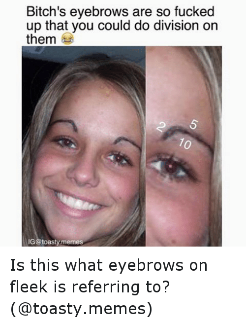 meme: Bitch's eyebrows are so fucked  up that you could do division on  them  IG @toasty memes Is this what eyebrows on fleek is referring to? (@toasty.memes)