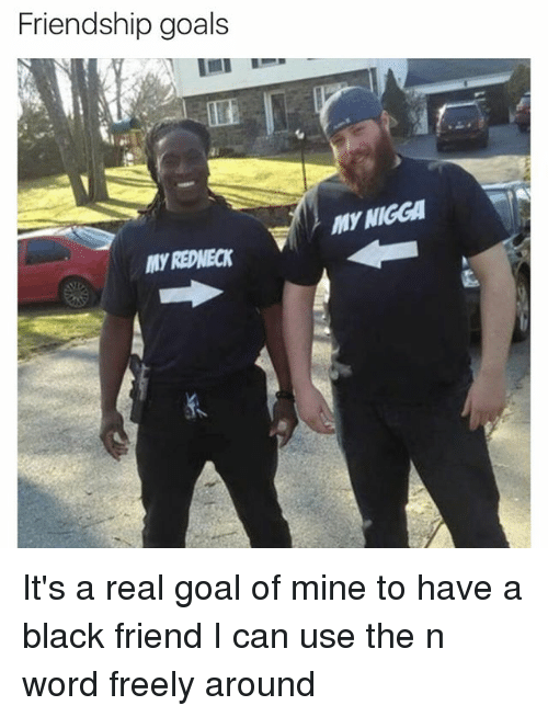 Friends, Funny, and Goals: Friendship goals  MY NIGGA It's a real goal of mine to have a black friend I can use the n word freely around