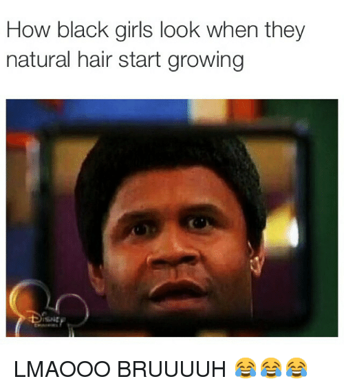 Funny, Girls, and Memes: How black girls look when they  natural hair start growing LMAOOO BRUUUUH 😂😂😂