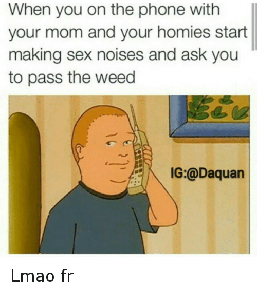 Daquan, Funny, and Homie: When you on the phone with  your mom and your homies start  making sex noises and ask you  to pass the weed  IG:@Daquan Lmao fr