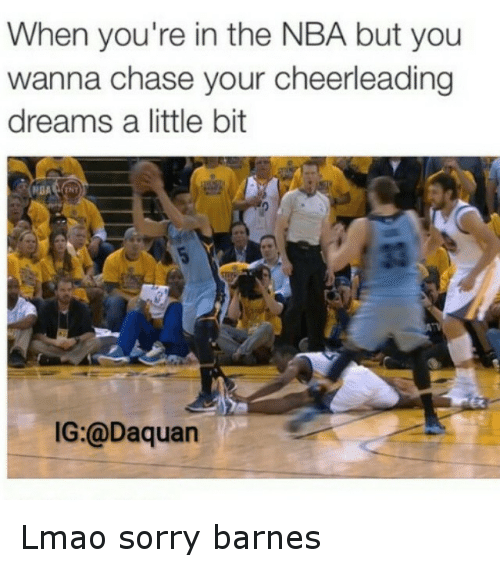 NBA: When you're in the NBA but you  wanna chase your cheerleading  dreams a little bit  NGA  IG:@Daquan Lmao sorry barnes