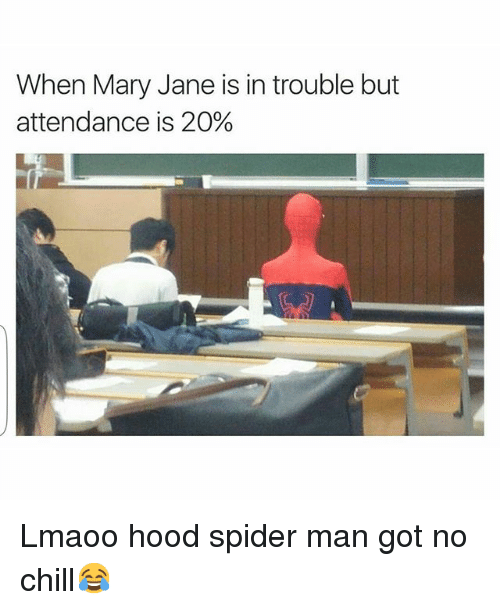 Chill, Funny, and No Chill: When Mary Jane is in trouble but  attendance is 20% Lmaoo hood spider man got no chill😂