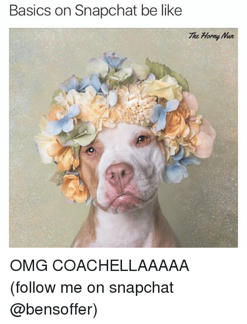 Be Like, Funny, and Omg: Basics on Snapchat be like  The Horn OMG COACHELLAAAAA (follow me on snapchat @bensoffer)