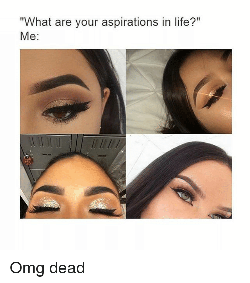 "Life, Omg, and Girl Memes: ""What are your aspirations in life?""  Me Omg dead"