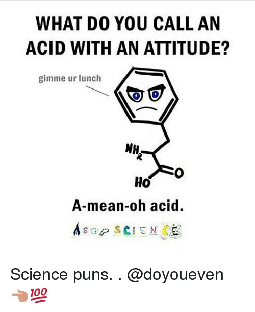 Gym, Puns, and Mean: WHAT DO YOU CALL AN  ACID WITH AN ATTITUDE?  gimme ur lunch  NH  Ho  A-mean-oh acid.  A sap SCIENCE Science puns.-.-@doyoueven 👈🏼💯