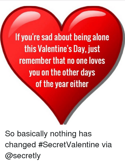 if you're spending valentine day alone meme - If You re Sad About Being Alone This Valentine s Day Just
