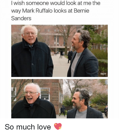 Bernie Sanders, Funny, and Love: I wish someone would look at me the  way Mark Ruffalo looks at Bernie  Sanders So much love 💖