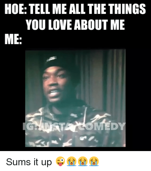 Funny, Hoe, and Hoes: HOE: TELLME ALL THE THINGS  YOU LOVE ABOUT ME  ME Sums it up 😜😭😭😭