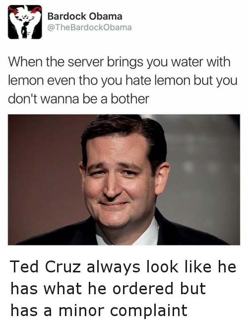 Presidential Election, Ted, and Ted Cruz: When the server brings you water with lemon even tho you hate lemon but you don't wanna be a bother Ted Cruz always look like he has what he ordered but has a minor complaint