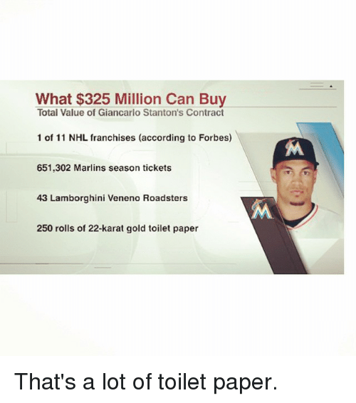 Giancarlo Stanton: What $325 Million Can Buy  Total Value of Giancarlo Stanton's Contract  1 of 11 NHL franchises (according to Forbes)  651,302 Marlins season tickets  43 Lamborghini Veneno Roadsters  250 rolls of 22-karat gold toilet paper  M That's a lot of toilet paper.