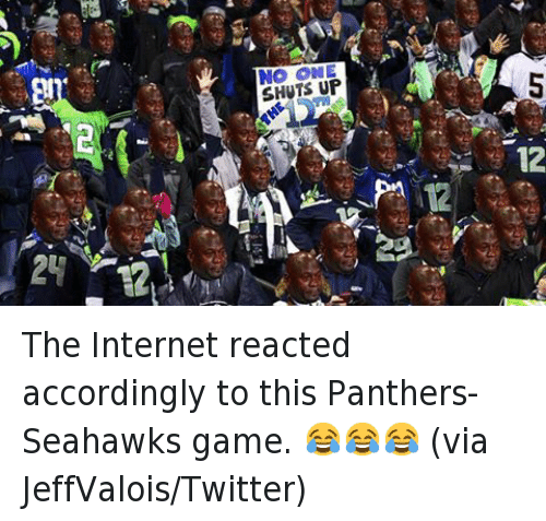 Football, Internet, and Michael Jordan Crying: @bleacherreport  No one shuts up the 12th man The Internet reacted accordingly to this Panthers-Seahawks game. 😂😂😂 (via JeffValois-Twitter)