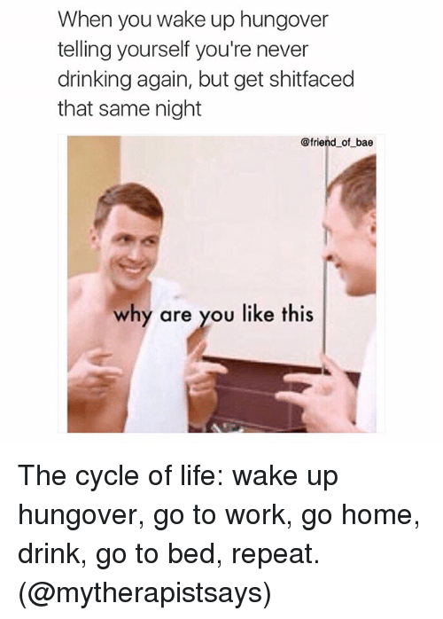 Bae, Drinking, and Friends: When you wake up hungover  telling yourself you're never  drinking again, but get shitfaced  that same night  @friend of bae  why are you like this The cycle of life: wake up hungover, go to work, go home, drink, go to bed, repeat. (@mytherapistsays)